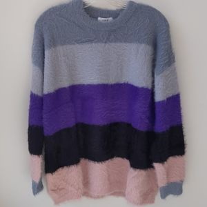 PRMA Sweater Nordstrom Multi Color Stripe Fuzzy XL
